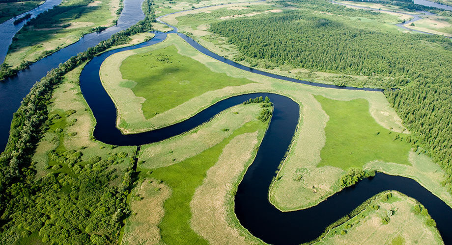 Aerial view of river